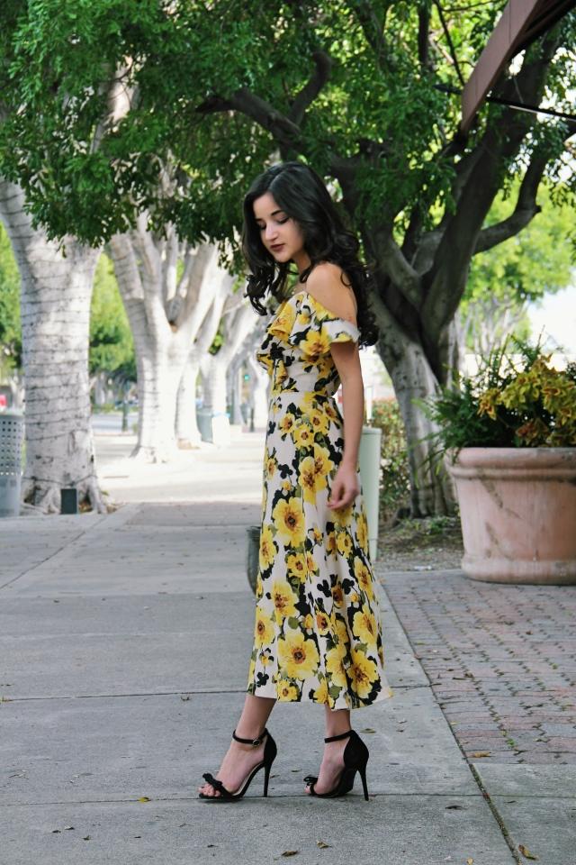 modcloth J.O.A. yellow floral off shoulder midi dress spring