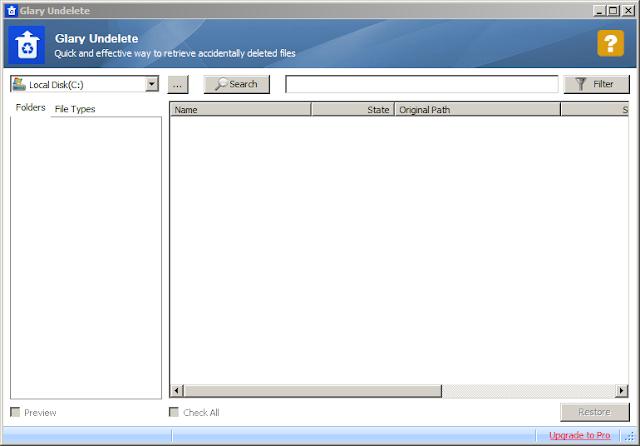 إسترجاع الملفات المحذوفة من النظام عبر برنامج Glary Undelete
