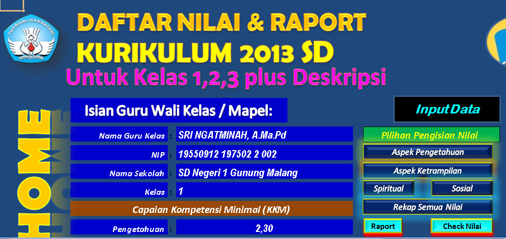 Download Aplikasi Raport Kelas 1 Semester 2 Berbasis Ms. Excel Terbaru(New Update)