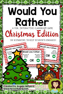 Would You Rather Interactive Christmas Game - Includes 30 fun, Christmas-related scenarios. Students will then answer each scenario by moving to the side of the room indicated by the arrow on the slide.  Perfect for those days just before winter break!