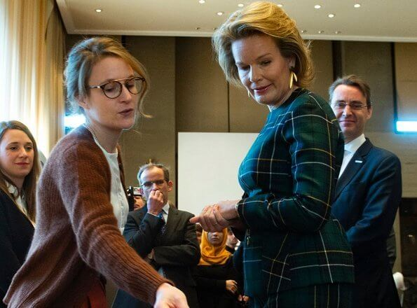 Queen Mathilde's outfit is by Belgian fashion house Natan. Queen Mathilde wore a outfit from Natan FW19 collection