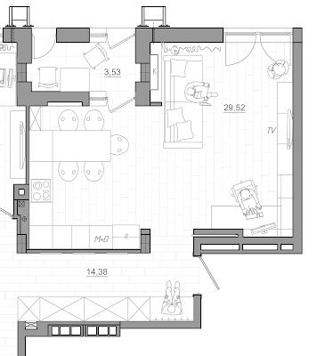 План кухни объединенной с гостиной