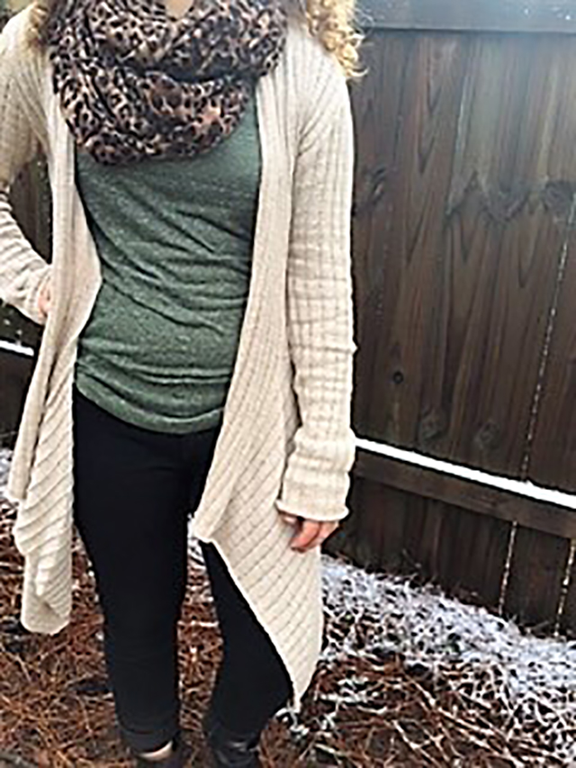 olive tee leopard scarf black skinny jeans tan cardigan black ankle boots outfit inspiration style fashion snow Grace + Lace link up