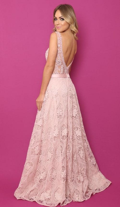 vestido rosa rendado para madrinha