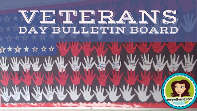 Veterans Day Bulletin Board where students make a flag out of their hands.  Each student is then able to dedicate a hand in honor or in memory of a veteran!