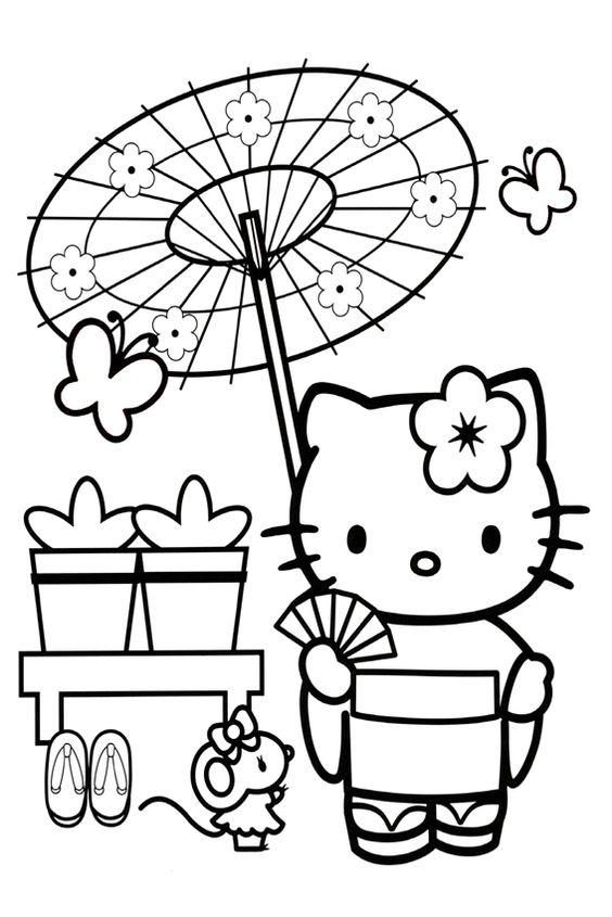 Tranh tô màu mèo hello kitty mặc kimono