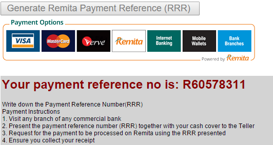 Write Down your Reference Number after Noun fees payment procedure
