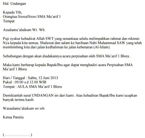Contoh Surat Resmi Undangan Wali Murid