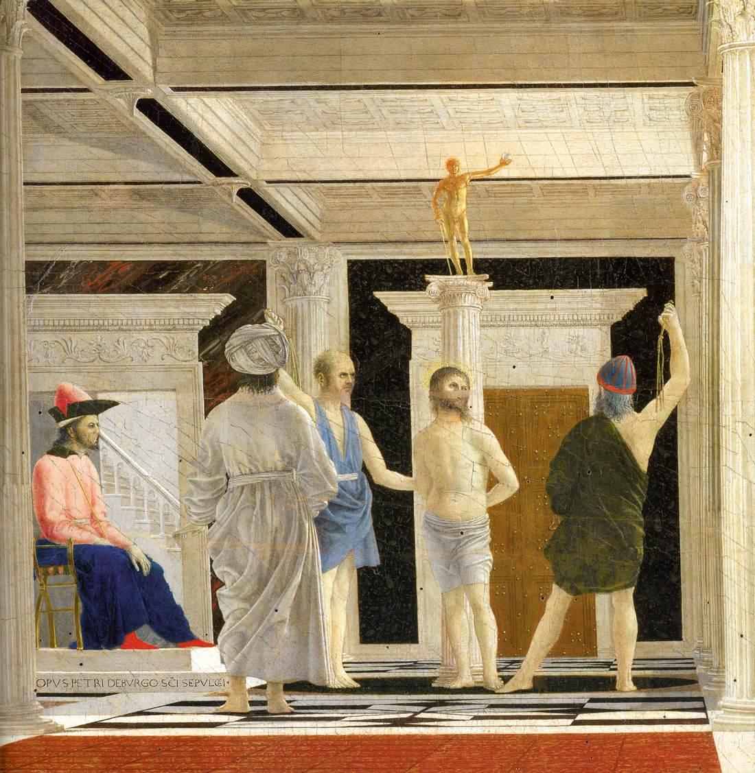 QUADRO Piero della Francesca Flagellazione di Cristo STAMPA TELA CANVAS Pasqua