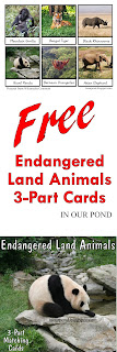 FREE 3-Part Cards for Safari Ltd Endangered Land Animals Toob