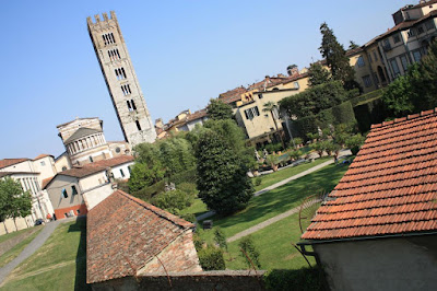 San Frediano church and Pfanner Gardens in Lucca