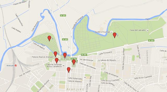 mapa con los puntos a visitar en aranjuez