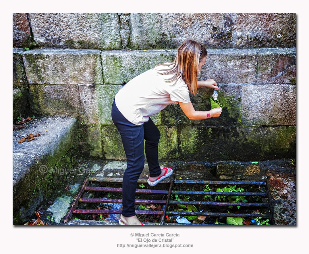 Fuente y niña bebiendo agua con hoja de hortensia.