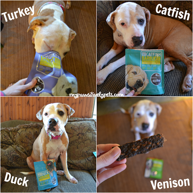 Petcurean SPIKE Dog Treats are available in four varieties of jerky
