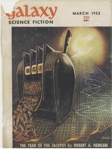 Cover by Richard Arbib, illustrating the story The Year of the Jackpot, of Galaxy Science Fiction magazine, March 1952 issue
