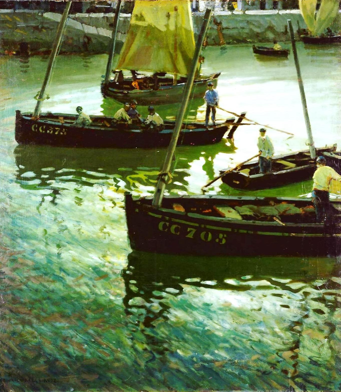 Pescadores en las barcas, Reflejos en el puerto, Enrique Martínez Cubells, Pintor español, Pintores españoles, Martínez Cubells, Paisajes de Enrique Martínez Cubells, Pintores Valencianos
