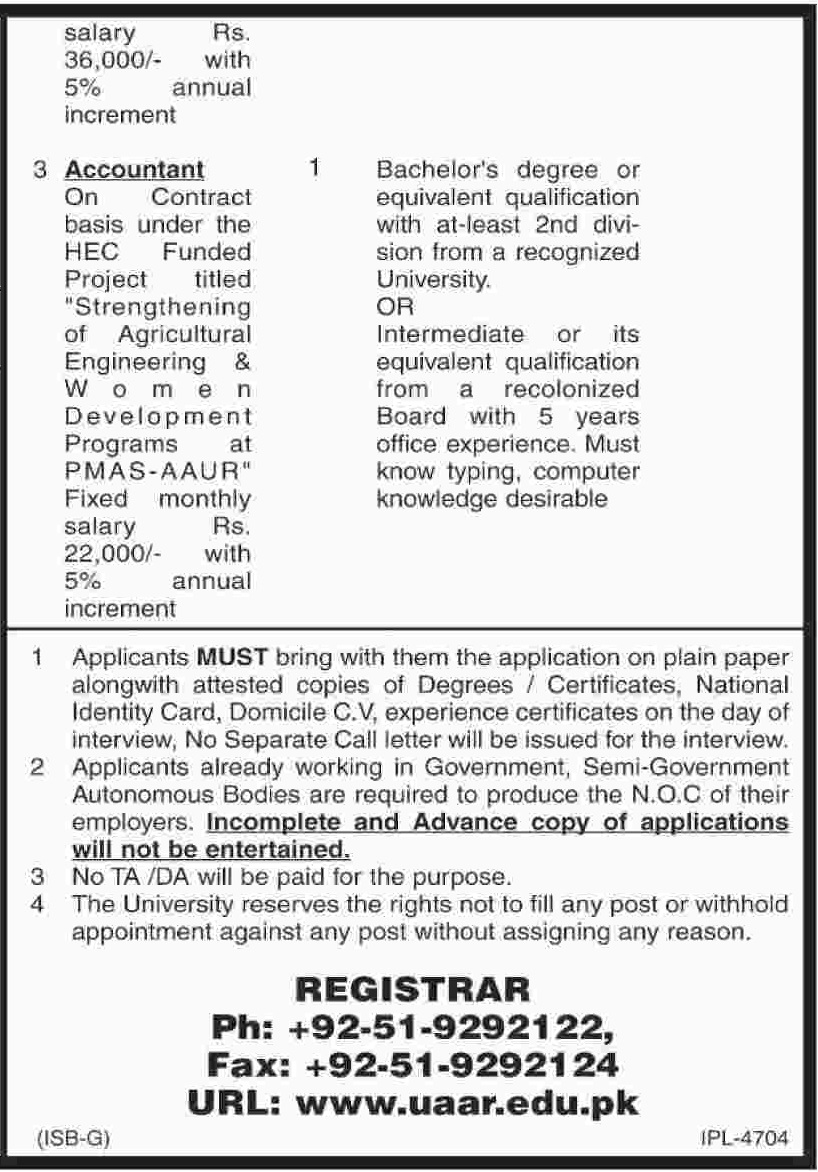 Rawalpindi Jobs In  Pir Mehr Ali Shah Arid Agriculture University 24 Apr 2017ad2