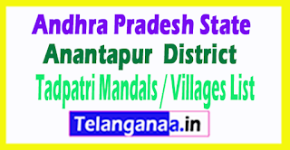 Tadpatri Mandal Villages Codes Anantapur District Andhra Pradesh State India
