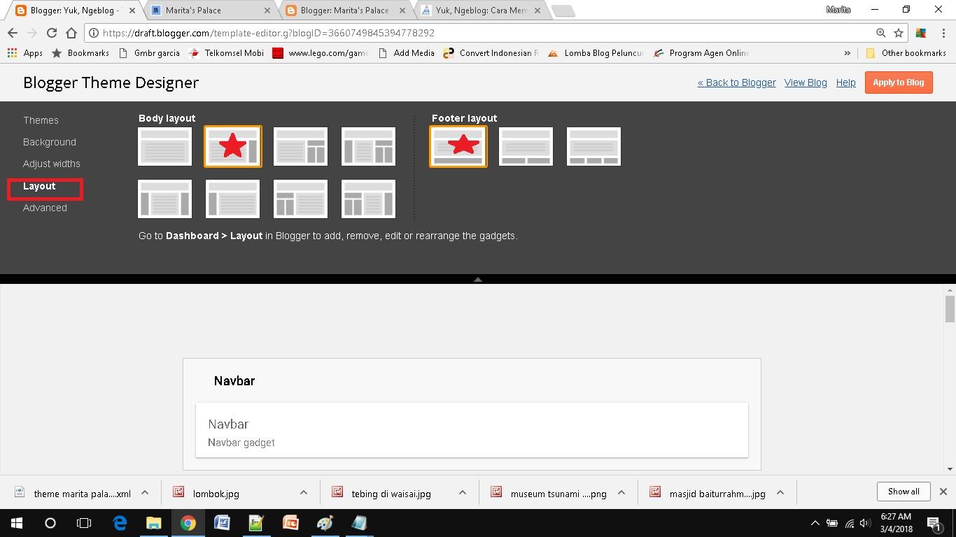 mendesain template blog sederhana memilih layout