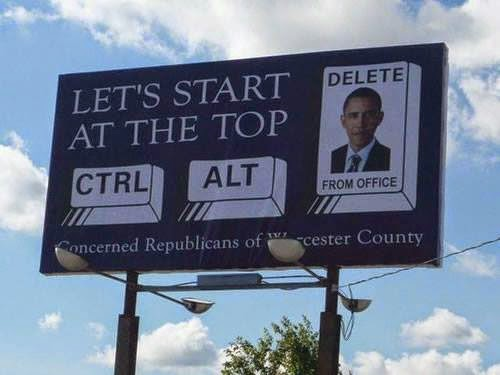 Funny Obama Ctrl Alt Delete Sign Joke Picture