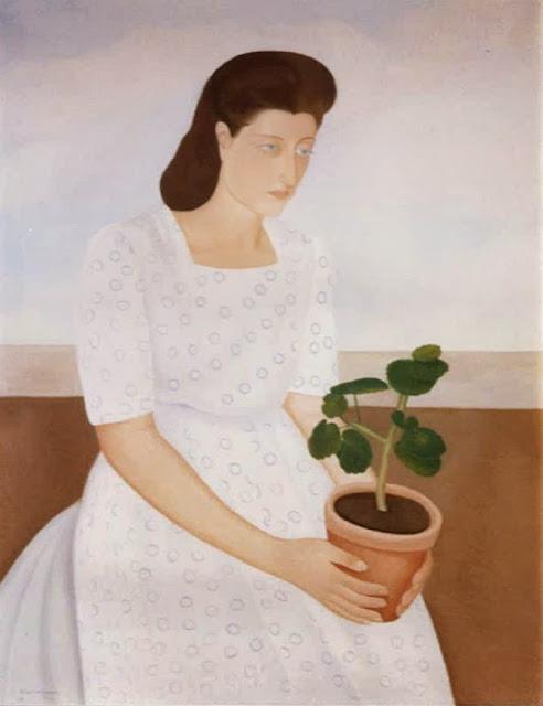 Juan Navarro Ramón mujer con flor pintura posguerra