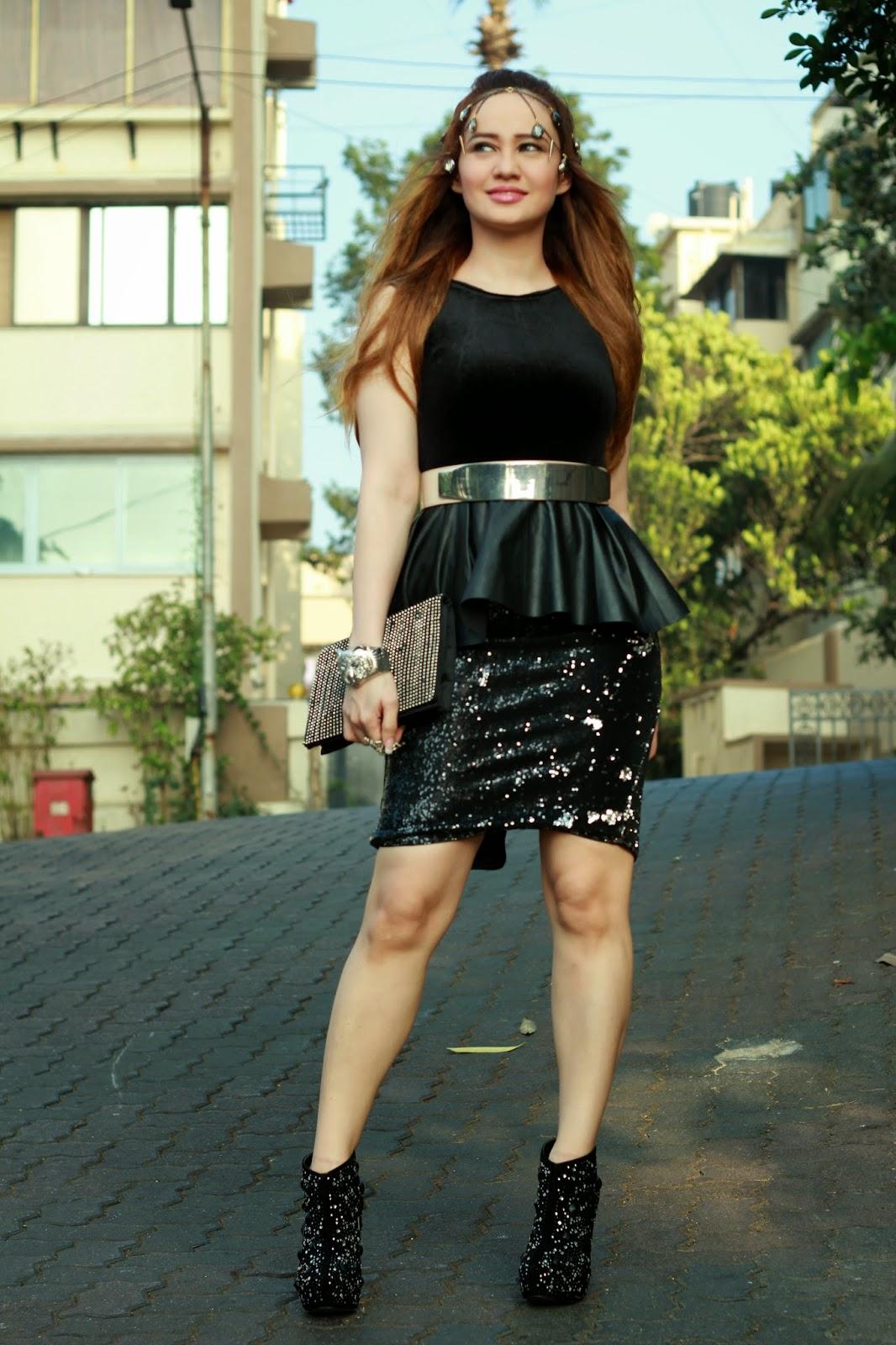 Black Velvet Peplum Top & Black Sequin Pencil Skirt