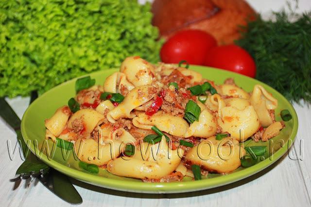 рецепт макарон с фаршем и овощами