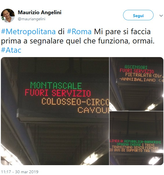 Situazione Trasporto Pubblico Roma lunedì 1 aprile