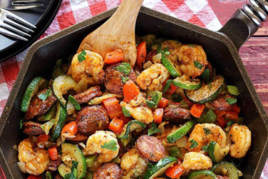 20-Minute Shrimp & Sausage Paleo Skillet Meal