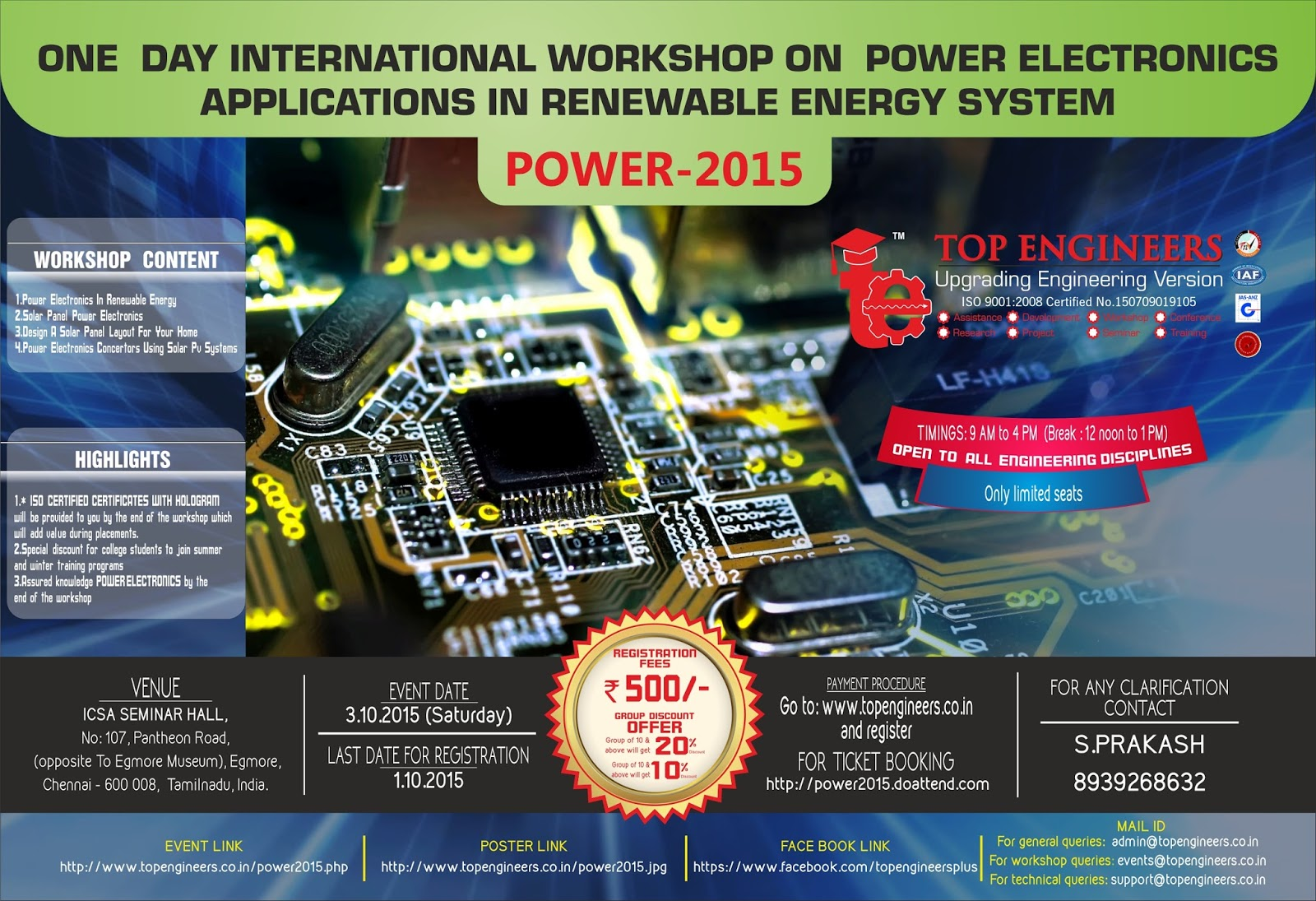 One Day International Workshop on Power Electronics Applications in Renewable Energy System (Power-2015)