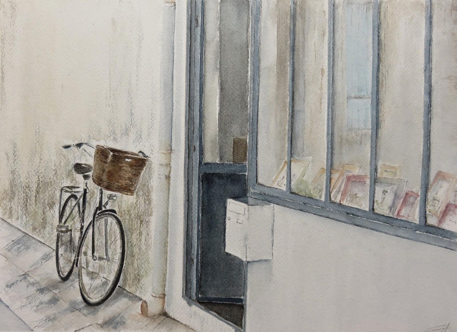 aquarelle île de Ré vélo vitrine Ars en Ré