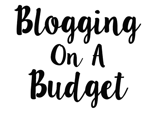 white background with black text reading blogging on a budget