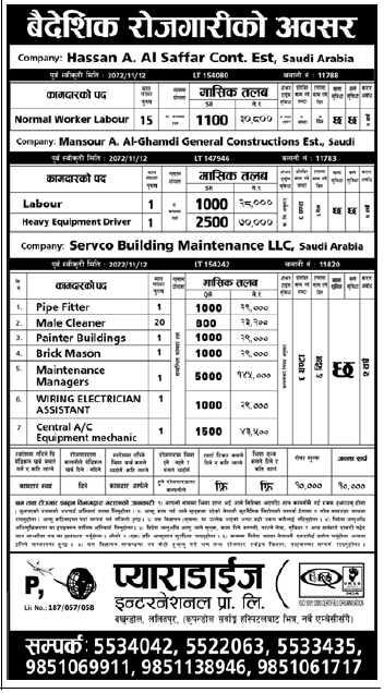 Jobs for Nepali in Qatar salary Rs.70,000/