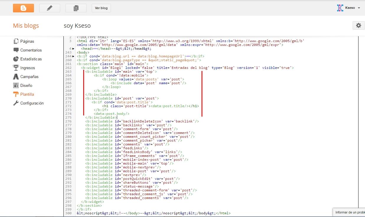 captura pantalla de la plantilla