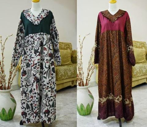 model baju gamis batik wanita gemuk