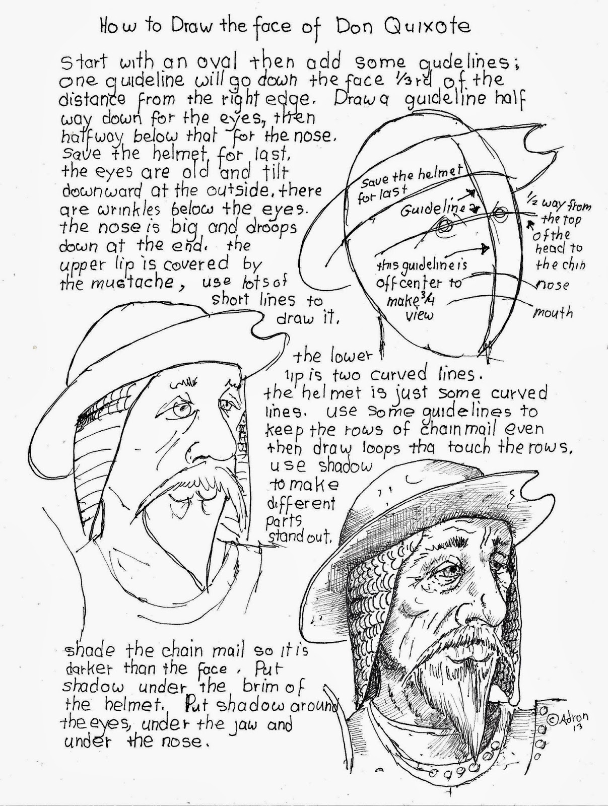 How To Draw Worksheets For The Young Artist How To Draw The Face Of Don Quixote Worksheet