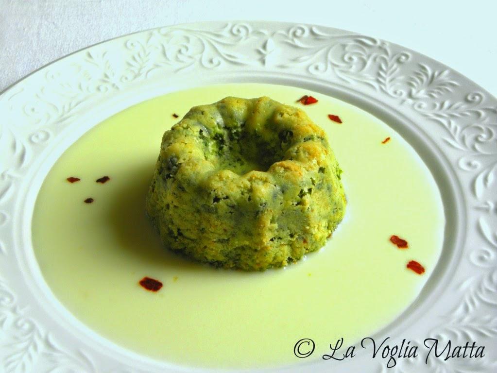 timballino di spinaci e patate su fonduta di  Robiola Tomasoni