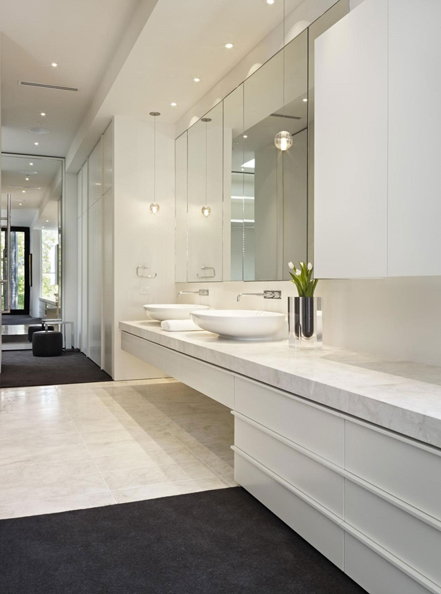 Modern bathroom with marble sink