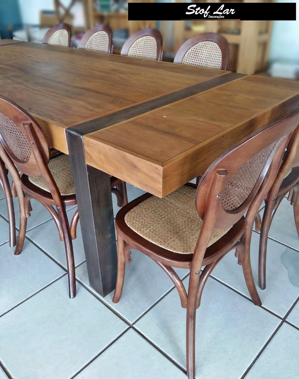 Madeira de Demolição : Mesa Retangular Com pé de Ferro e Cadeiras #896042 1200x1522