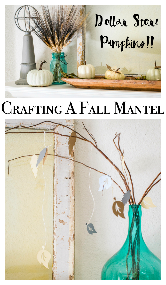 Fall craft ideas for a mantel or any area of your home. Features crafts made with a Cricut machine and dollar store pumpkins. Autumn home decor has never been so thrifty!