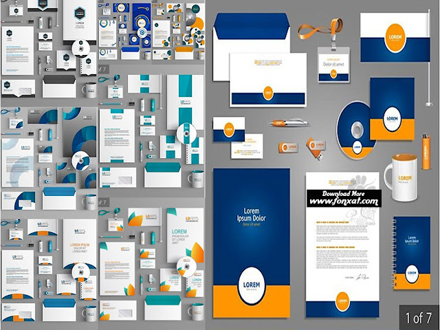 Download set of vector images office, business cards, envelopes, letterheads and ... - Stationery Template Design Vector