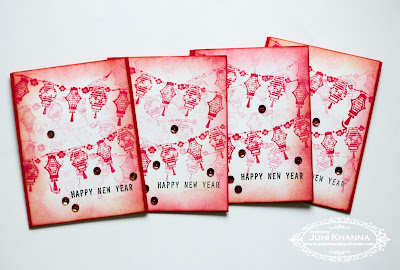 Set of Monochromatic Red Handmade Chinese Lunar New Card with Inkadinkadoo stamps
