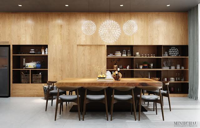 большой деревянный обеденный стол