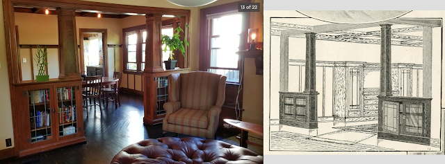 room separators -- craftsman columns and bookcases between living room and dining room, against catalog image of same