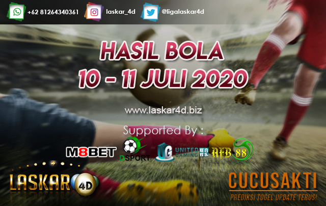 HASIL BOLA JITU TANGGAL 10 - 11 JULI 2020