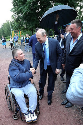 Vladimir Putin visited an open-air gym in Petrozavodsk.