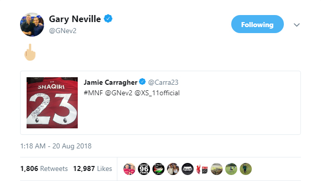 It seems Gary Neville doesn't appreciate the gift from Xherdan Shaqiri