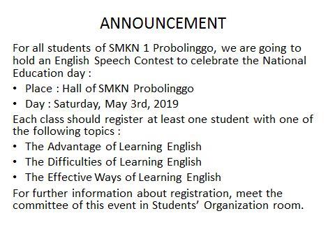Announcement Soal Simulasi USBN Bahasa Inggris SMK / MAK: Versi 1