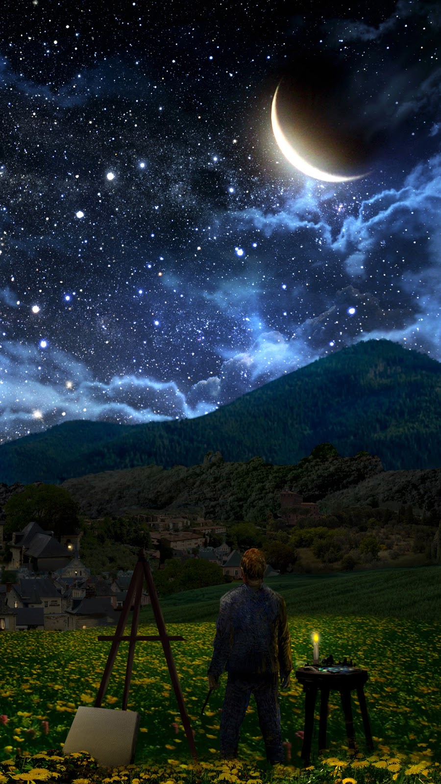 Starry sky in the night