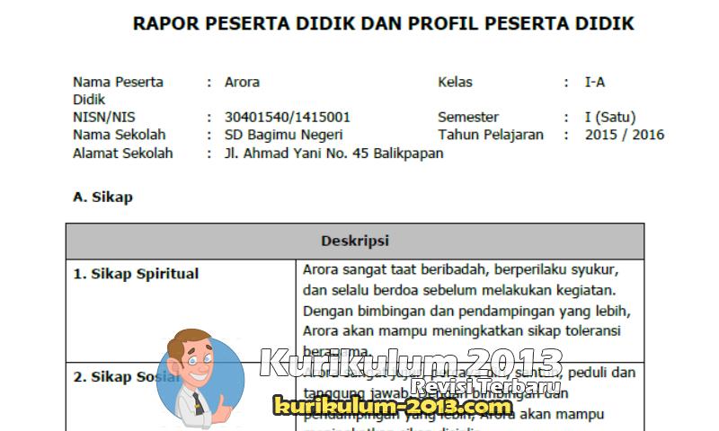 Download Contoh Raport SD Kurikulum 2013 Beserta Cara Pengisian